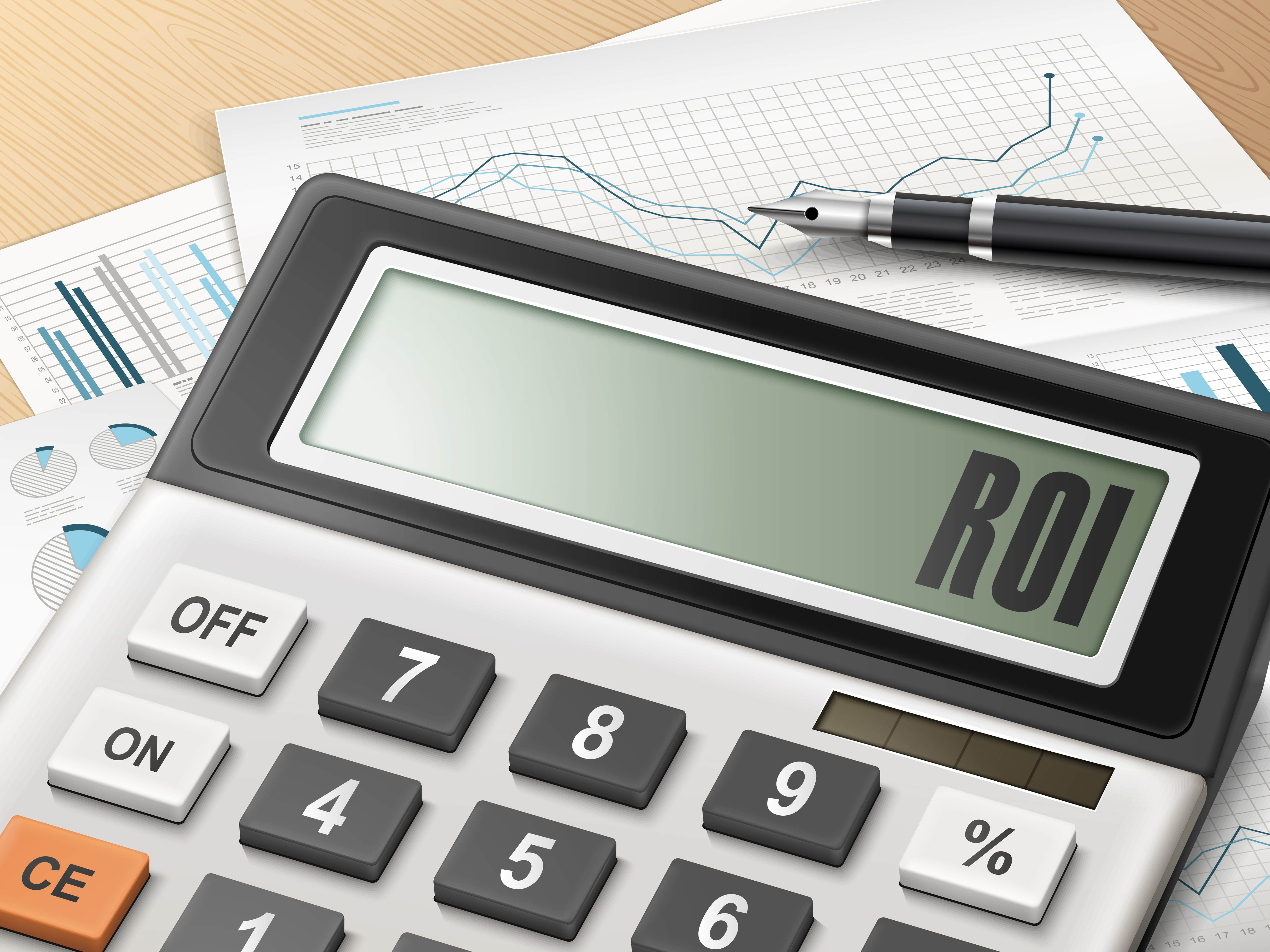 calculator with the word ROI