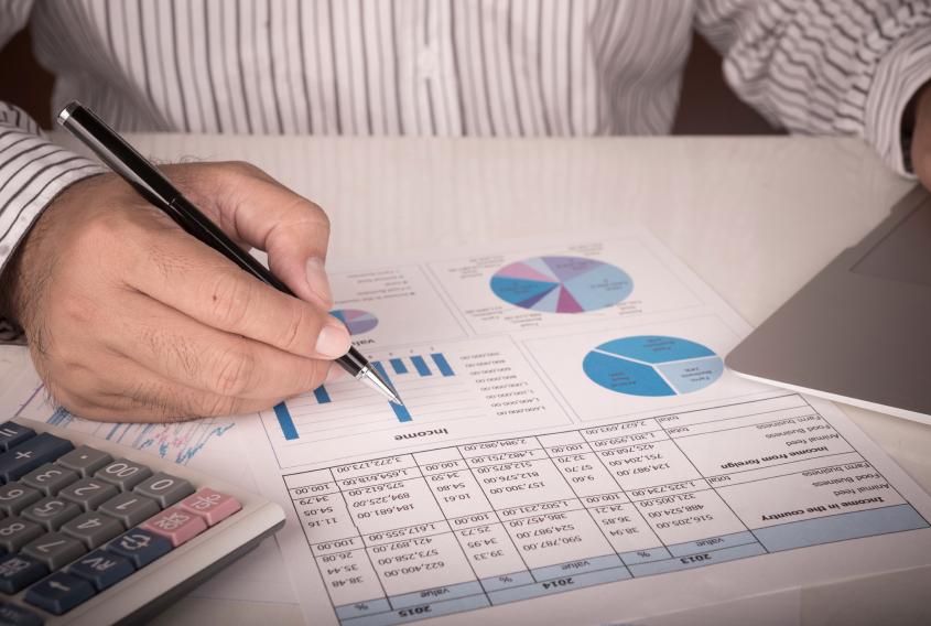 businessman analyzing data report
