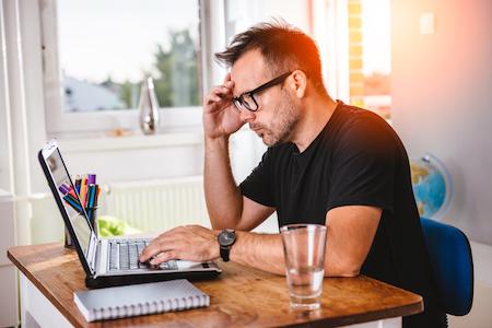 Creative man working at computer