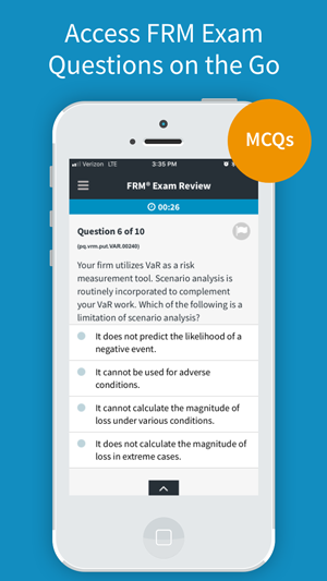 Review FRM Exam questions with complete explanations on any device